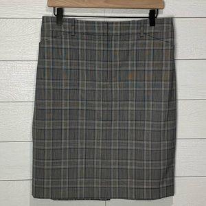 Theory Gray Plaid Skirt Size 10